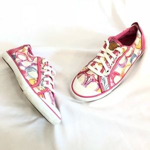 Pink Coach C Logo Canvas Sneakers